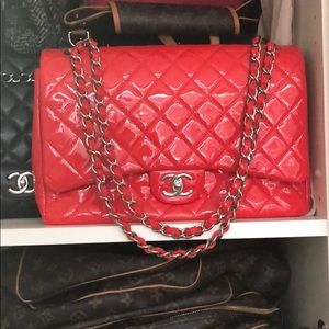 RARE RED PATENT LEATHER MAXI JUMBO CHANEL